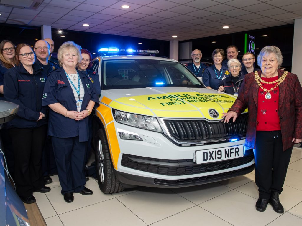 Pictured Burntwood & Cannock Chase CFR Volunteers with the Chairman of Burntwood Town Council Cllr Diane Evans (front of vehicle)